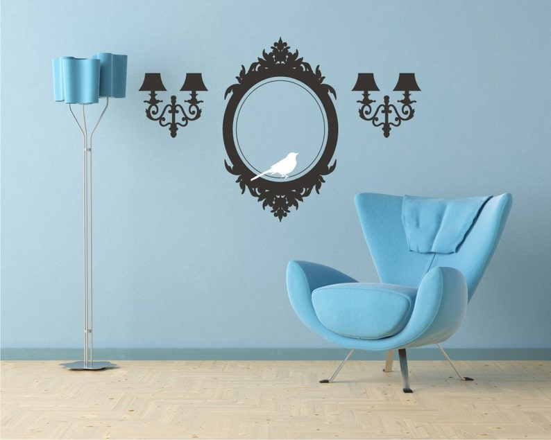 Frame and Sconces Wall Decals Elegant Accents  Vinyl Wall image 0