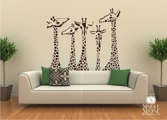 Nursery Giraffe Wall Decals - Giraffe Family Wall Stickers Custom Home Decor