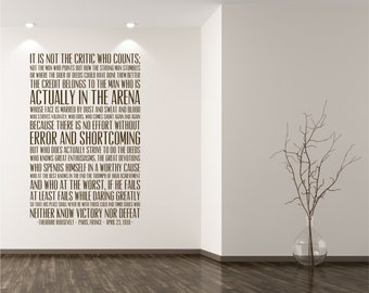 The Man In The Arena Quote Wall Decal - Business Office Vinyl Words