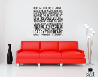 I Carry Your Heart Wall Decal Quote Text ee cummings - Vinyl Subway Art Custom Home Decor