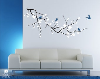 Cherry Blossom Tree Branch Wall Decal with Birds - Vinyl Wall Art Custom Home Decor