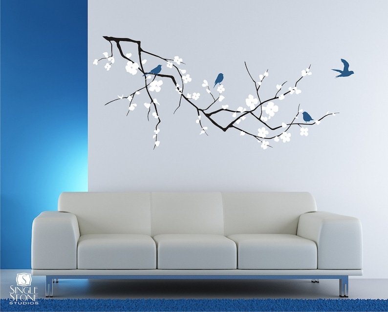 cherry blossom tree branch wall decal with birds vinyl wall   etsy