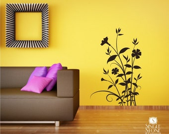 Floral Wall Decal Nature's Bouquet - Vinyl Text Wall Words Stickers Art Custom Home Decor
