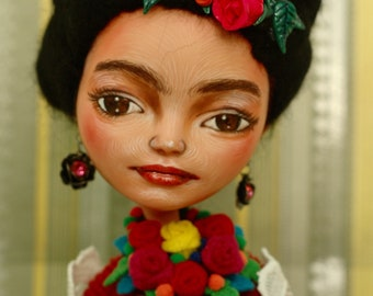 Frieda Kahlo doll, OOAKA custom doll...
