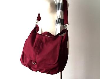 Rose Red Messenger diaper bag,Cross body satchel, women shoulder bag,canvas school bag ,Travel bag / Sale 25 % - no.18 -DANIEL