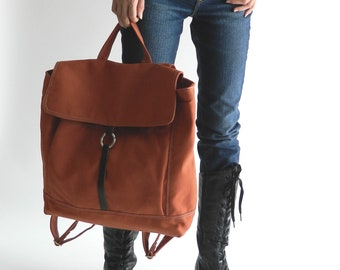 "Travel diaper Backpack, Canvas Satchel Cary on backpack, School 13""Laptop Rucksack, Minimalist Salmon Orange Backpack   - no.102 -TANYA"