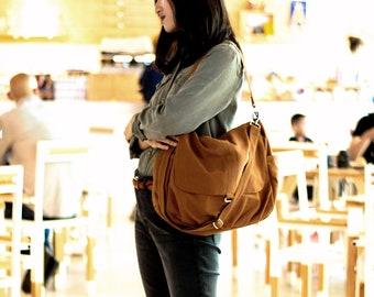 Cotton Canvas Diaper Bag in Cognac Brown,  Zipper Travel Messenger bag , Everyday Work bag , School Laptop bag - /no.18 DANIEL