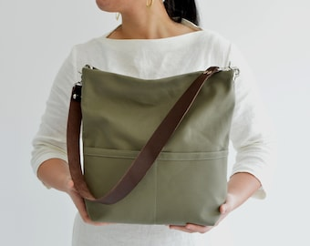 Hobo shoulder bag, Canvas tote bag with leather strap, Casual Tote bag for women, Cotton canvas bucket bag with pocket and zipper - Olive