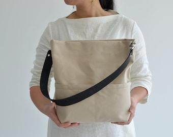 Women Hobo Tote bag, Canvas bucket tote, Shoulder bag with leather strap, Women tote bag with pocket, Zipper Market bag - Beige