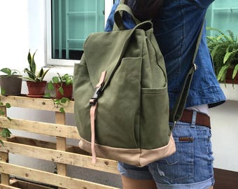 Smoke green canvas diaper bag backpack, School  laptop backpack, Travel zipper backpack, college Unisex backpack - no.108 MARKEN