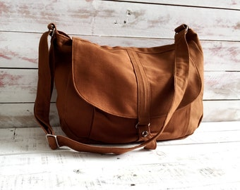 0f1437b6f4b4 Brown Cognac canvas Messenger bag for women