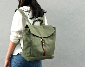 Laptop Canvas School Satchel Backpack, Minimalist Travel rucksack with zipper, Leather strap canvas diaper backpack/OLIVE GREEN-no.102 TANYA