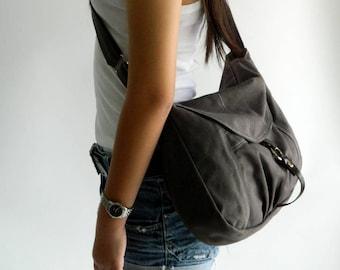 Sale - Gray canvas Messenger bag,Diaper bag,Tote,canvas shoulder bag  Purse,Cross body bag, For her / Sale 25 % - no.103 CLAIRE