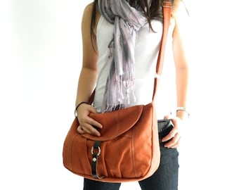 Orange Pumpkin canvas Messenger bag, Women Cross body bag , Diaper bag, Purse, Handbag ,back to School-Sale 25 % -no.103 CLAIRE