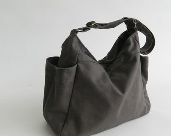 d183c90faff GRAY hobo diaper bag, Eco Mother vegan tote bag,Gift for her Purse,women  canvas shoulder bag, Cross body Travel messenger bag - no.101 RENEE