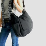 "BLACK messenger cross body diaper bag, Women canvas shoulder bag, Cross body gym bag, Back to school fit 13"" laptop bag - no.18 / DANIEL"