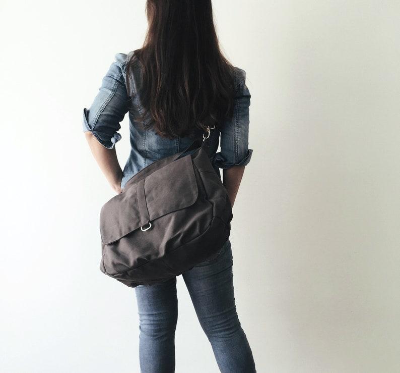 Gray shoulder diaper bag for mom  Travel messenger bag with image 0