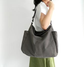 GRAY Hobo Diaper Bag , Water resistant Women Vegan Tote Bag , Travel Cross body Messenger Bag, Canvas Shoulder Bag(DWR)- no.101 RENEE