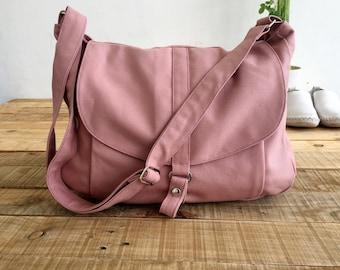 Canvas Messenger bag back to school ,Shoulder bag,Gift for her ,Diaper bag ,Purse,Handbag,Women,-Pale Pink /Sale 25 % - no.12 KYLIE