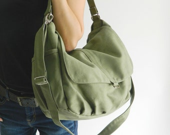 "Smoke Green Messenger 13"" Laptop Bag,  Canvas Diaper Bag, Women Travel Crossbody Bag, Large and Roomy bag Gift For Her  - no.18 / DANIEL"