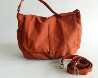 Orange Pumpkin messenger bag, Women canvas cross body diaper bag,zipper handbag, School laptop bag / Sale 25 % - no.18 -DANIEL