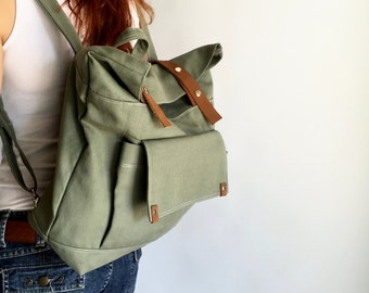 Olive Canvas Back to school laptop backpack , leather strap diaper Backpack Purse, Travel leather backpack for women - no.105 ALLISON