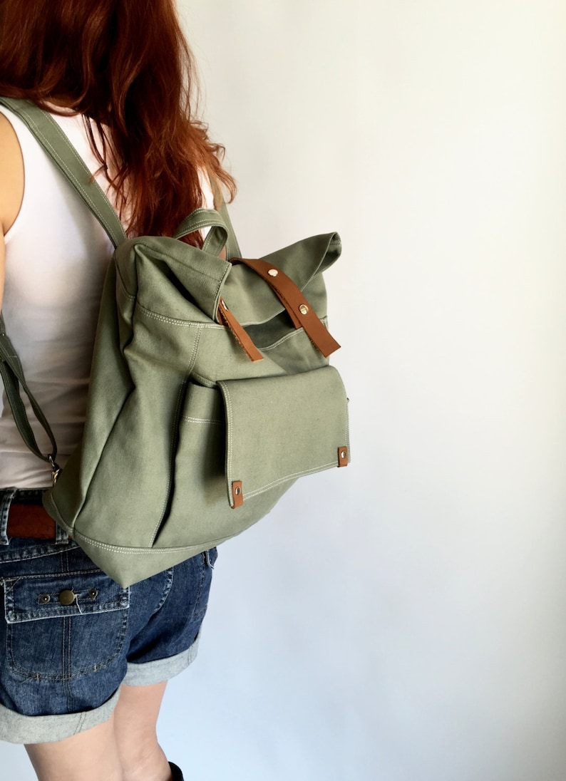 Olive Canvas Diaper Backpack Back to school laptop backpack  image 0