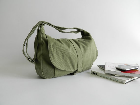 605e95236855 Vegan Smoke Green adjustable strap Messenger bag 5 pockets