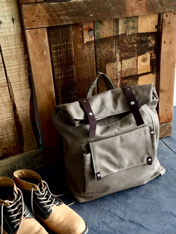Roll Top Unisex Travel Backpack with leather strap laptop  b8715bb1cbbb6