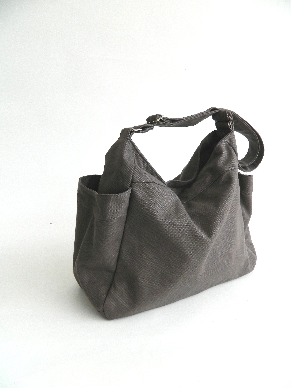 2addf19662da4 GRAY hobo diaper bag, Eco Mother vegan tote bag,Gift for her Purse,women  canvas shoulder bag, Cross body Travel messenger bag - no.101 RENEE