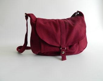 Rose Red messenger bag,Canvas diaper bag ,Women shoulder bag,Cross body tote bag , Travel Handbag- Sale 25% - / no.12 KYLIE