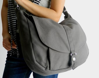 Gray Messenger Bag Travel Cross body bags Water resistant Vegan Canvas everyday Gym shoulder bag Personalized gift set for her - no.12 KYLIE