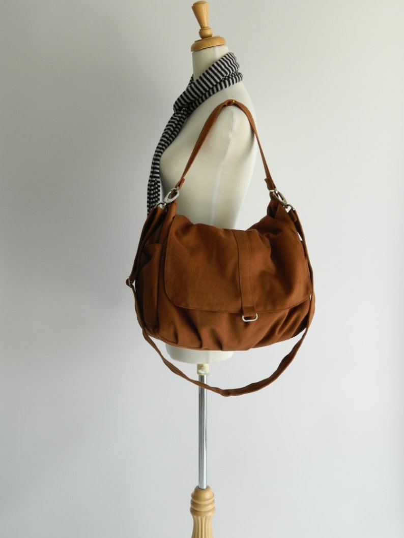 Canvas Messenger zipper bagCognac brown diaper bag School  c7a85561ca0df