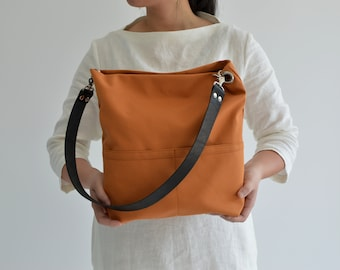 Tote bag with zipper and leather strap, Hobo Shoulder bag, Tote bag for women, Personalized canvas Tote bag, Women birthday gift - Orange