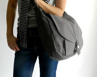 Gray messenger bag, Canvas shoulder bag, Diaper tote bag, Handbag for her, Cross body School Bag /Sale 25 % - no.12 KYLIE