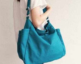 Women Hobo Diaper Bag TEAL Canvas Crossbody Bag Vegan Canvas Hobo Bag , baby shower gift, Everyday Messenge bag  Gift for her - no.101 RENEE