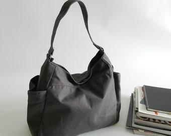 Gray hobo diaper bag, Mother vegan tote bag,Gift for her Purse ,women canvas bag,Travel messenger bag /Sale 25 % - no.101 RENEE