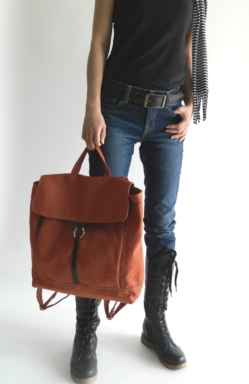 Travel diaper Backpack Canvas Satchel Cary on backpack image 0