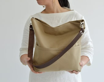 Women hobo tote bag, Medium bucket tote, Hobo bag purse, Canvas Shoulder bag with leather strap, Tote bag with pocket and zipper - Khaki