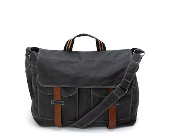 """Waxed Canvas Messengers bag in Gray, Leather Strap Crossbody bag fit  15"""" Laptop, Casual Unisex Overnight Travel bags - no.104 MACKENZIE"""