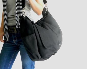 "BLACK canvas messenger bag, Travel Women crossbody  diaper bag, Gym shoulder bag, Back to school 15"" laptop bag - no.18 / DANIEL"