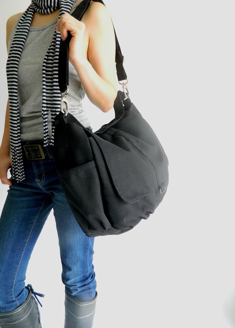 BLACK canvas messenger bag Travel Women crossbody  diaper image 0