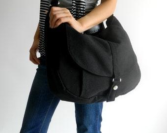 Black Canvas Mesenger Women hobo Travel bag,  School laptop bag , Vegan Women canvas work Purse, everyday diaper bag - no.12 KYLIE