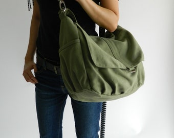 Smoke green messenger bag,Women canvas shoulder bag, Handbag gift for her,cross body bag ,Diaper bag -Sale 25% -  / no.18 -DANIEL