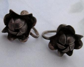 Sterling silver 925 vintage rosette flower screw back earrings - j5958