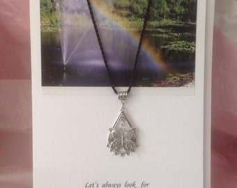 Let's Always Look For Rainbows in the Rain Notecard and Necklace