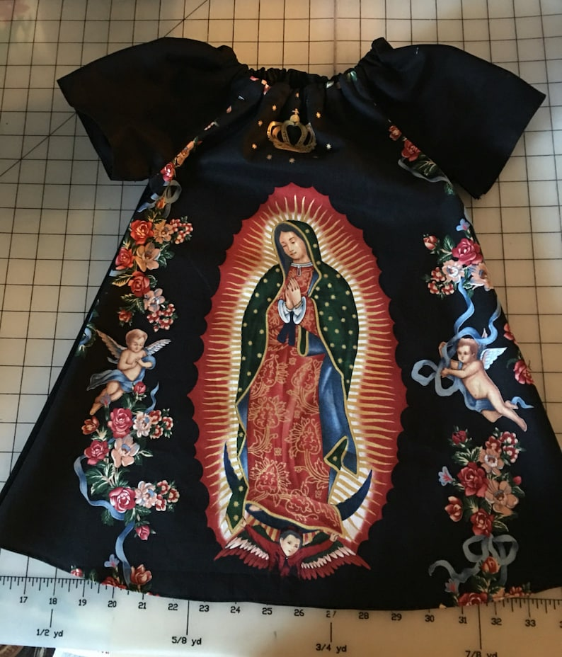 Custom Size Made to Order Virgin of Guadalupe Black Background Peasant Dress Alexander Henry Fabric Boutique Style Virgen de Guadalupe