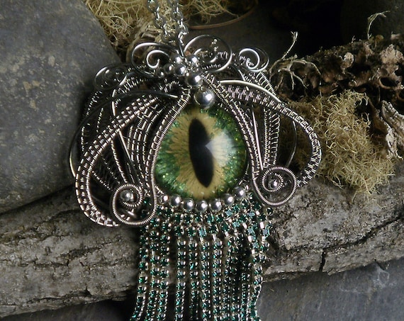 Gothic Steampunk Green Eye with Green Waterfall Fringe Pendant