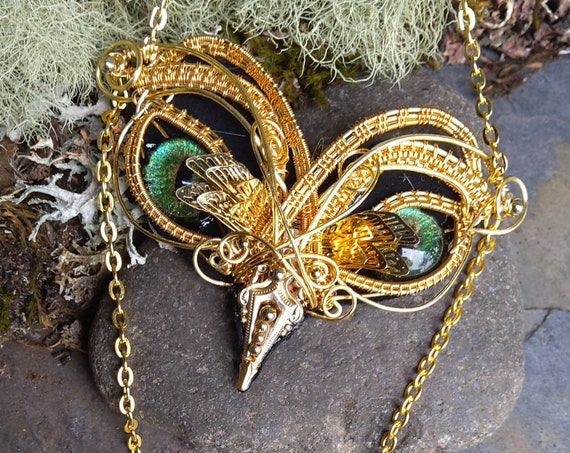 Golden Dragonfly Baby Owl with Fringe Necklace