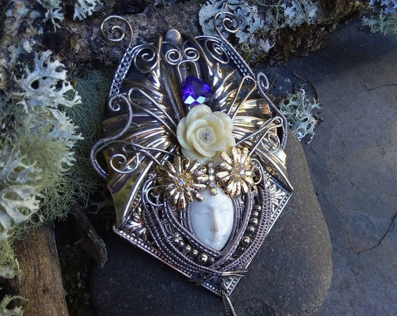 Gothic Steampunk Carved Bone Face Pin Pendant Part 2